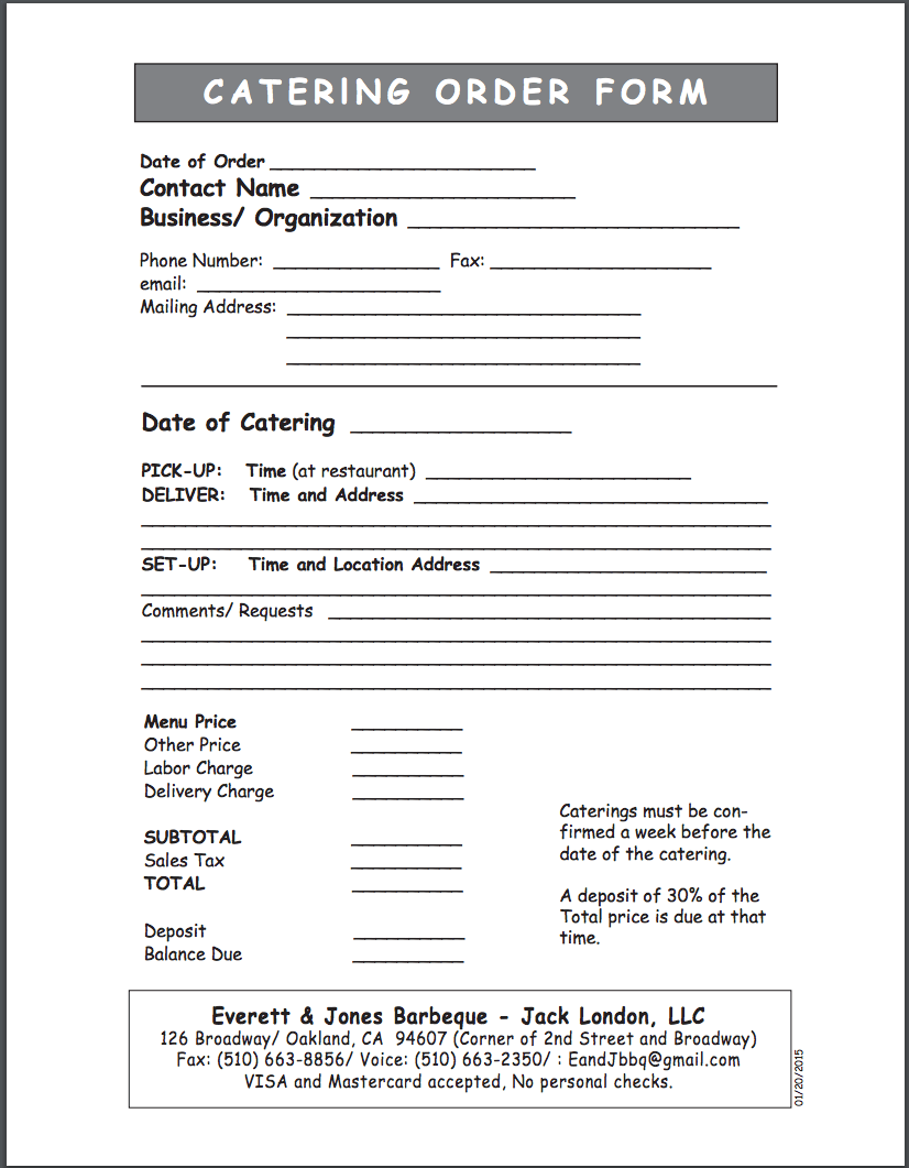 Everett and Jones Catering Order Form